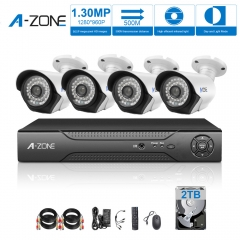 A-ZONE 4CH CCTV Security System 960P Cameras 1080P DVR 2TB HDD Video Surveillance Kit Remote View Play&plug
