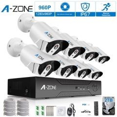 A-ZONE 8Ch 1080P NVR HD 960P IP PoE Security Camera System+8 Outdoor /Indoor Fixed lens 960P Cameras+2TB HDD