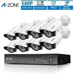 A-ZONE Security Camera System 8Channel 1920P AHD DVR With 8 HD 1920P 5.0MP CCTV Camera
