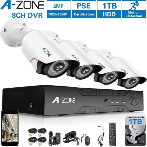 A-ZONE 8CH 1080P DVR AHD Home Security Cameras System kit+4pcs HD 1080P CCTV Bullet Camera+1TB HDD
