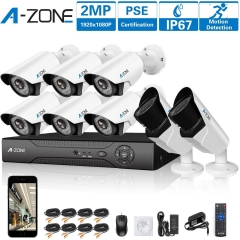 A-ZONE 8CH 1080P DVR AHD Security Camera System+6pcs Fixed Lens Bullet Camera & 2pcs 2.0MP Varifocal Camera