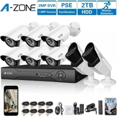 A-ZONE 8CH 1080P DVR AHD Security Camera System+6pcs HD 960P Fixed Lens Camera & 2pcs 960P Varifocal Camera+2TB HDD