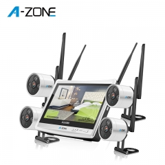 A-ZONE 960P Vision Motion Alarm 4CH WiFi IP Camera NVR Kits with Monitor Screen Mini Diy Security Camera Kit