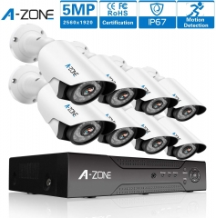 A-ZONE (1920P) video surveillance 5MP surveillance camera set outdoor 8 channel 5MP DVR 8X 1920P surveillance camera night vision Waterproof IP67