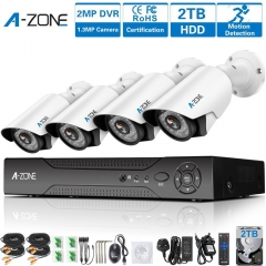 A-ZONE Coaxial Home Security 4CH 960P (Better than 1200TVL) Including 2TB Hard Drive
