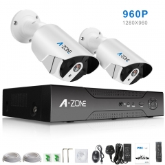 A-ZONE 960P CCTV Camera System 4CH PoE NVR Bullet Camera IP67 Weatherproof No Hard Drive