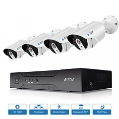 A-ZONE 1080P Security Camera System 4CH PoE Night Vision Motion Detect No HDD