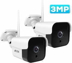 AZONE Outdoor Security Camera - 3MP Bullet Door Camera IP66 Night Vision Two-Way Audio, Motion Detector (Set of 2)