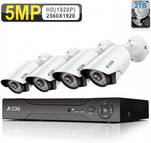 A-ZONE 1920P 4 Channel AHD DVR Home W/ 4X HD 5.0MP Waterproof Night Vision Quick Remote Access, with 2TB HDD