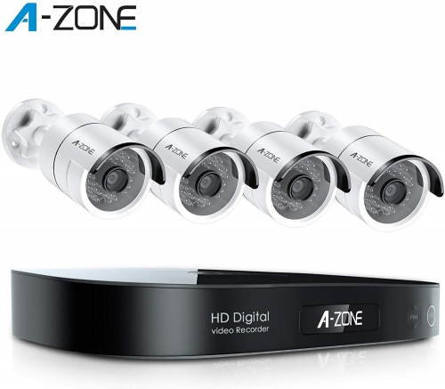 A-ZONE Home Security Camera System, 8-Channel Full HD 1080P Smart Motion Detection, Free Remote