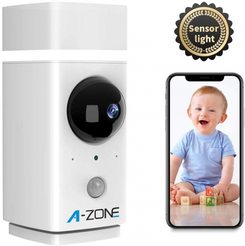 Baby Monitor with Sensor Light, 1080P HD 2-Way Audio Person Detection Support Local/Cloud Storage, Work with Alexa