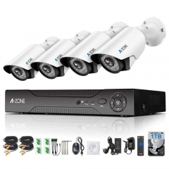 A-ZONE Video Surveillance Kit 8-Channel 4 x HD 960P Waterproof with 1TB Hard Drive