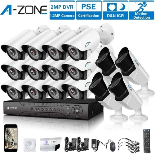 A-ZONE 16 CH 1080P DVR AHD Security Camera 4X HD 1.3MP Varifocal Camera IR 2.8-12mm Lens with 2TB HDD