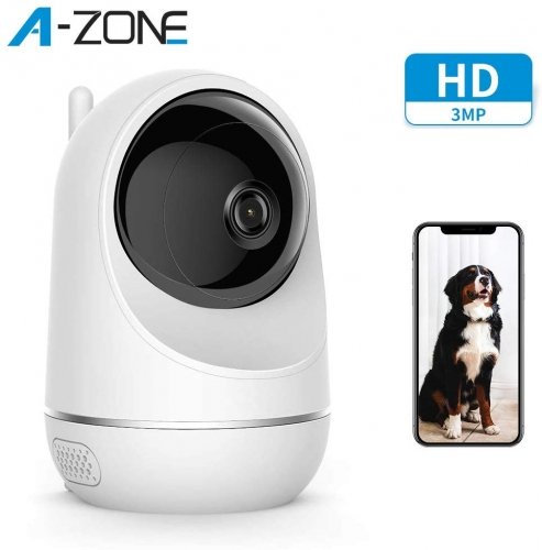 A-ZONE Baby Monitor, Wireless 3MP IP Camera with Baby Crying Motion Detection Works with Alexa