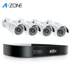 A-ZONE Security Camera System Outdoor, 8CH 5MP-Lite DVR AHD Surveillance System, 4 Outdoor/Indoor 3.6mm Fixed Lens 2.0 Megapixel